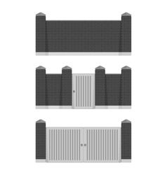 Black stone bricks fence vector