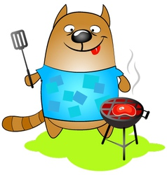 Cat cooks of grilled vector