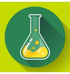 Chemical lab flask with liquid icon Flat design vector image vector image