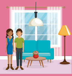 Couple lovers in the living room vector