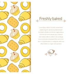 delicious pastries in doodle style with place for vector image
