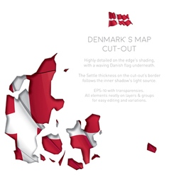 Denmark map cut out with waving flag vector