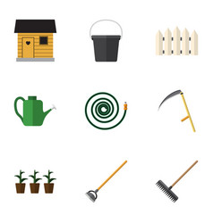 flat icon dacha set of harrow pail wooden vector image vector image