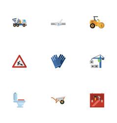 Flat icons hoisting machine handcart mitten vector