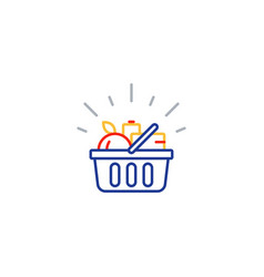 food basket grocery order shop special offer line vector image