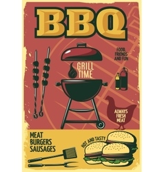 Grill Time BBQ Poster vector image vector image