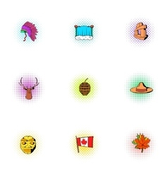 Holiday in canada icons set pop-art style vector