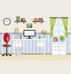 homeoffice workplace - flat design vector image vector image