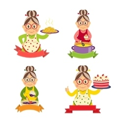 Housewife characters set vector