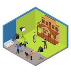 interior television studio isometric view vector image vector image