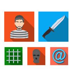 Knife prisoner mask on face steel grille vector