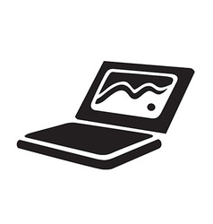 Laptop black icon isolated vector image vector image