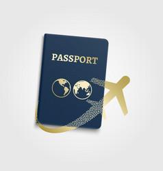 passport international id and airplane vector image