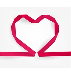 Pink ribboned love heart vector