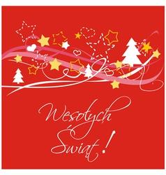 Polish christmas red card or invitation vector image
