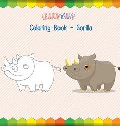 Rhino coloring book educational game vector image