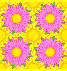 seamless pattern of pink flowers with green vector image vector image
