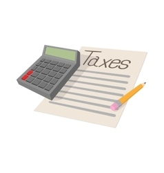 Tax form and calculator icon cartoon style vector image