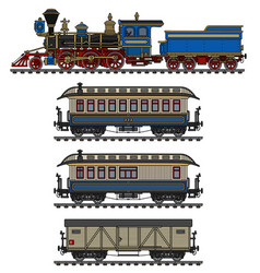 vintage steam locomotive and wagons vector image vector image