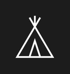 Wigwam icon on black background vector