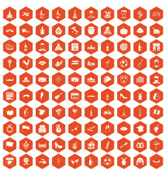 100 wine icons hexagon orange vector