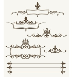 Royal crowns and fleur de lys ornate frames vector