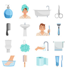 Hygiene products icon set vector