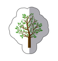 Sticker colorful tree with leafy branches vector