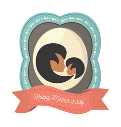 happy mothers day charatcer mom and daughter vector image