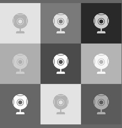 Chat web camera sign  grayscale version of vector