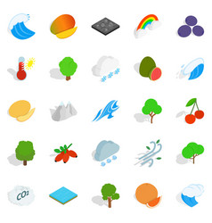 Live nature icons set isometric style vector