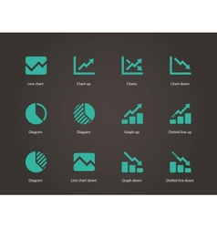 Line chart and diagram icons vector