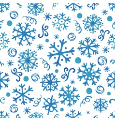 Seamless pattern with hand drawn watercolor snowfl vector