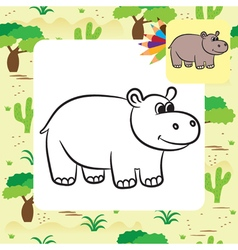 Hippo coloring page vector