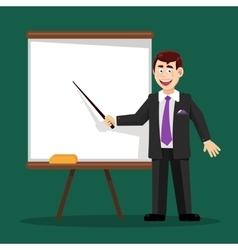 Business man with pointer at the board vector