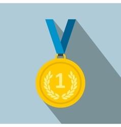 Golden medal flat icon vector