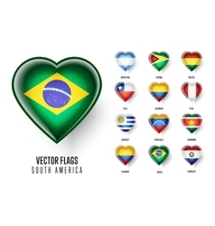 Flags of the countries of south america vector