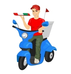 Pizza delivery man driving blue scooter vector