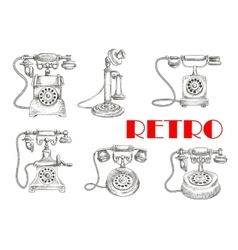 Sketch of retro telephones with rotary dials vector
