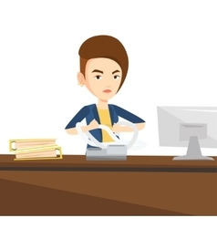 Angry business woman tearing bills or invoices vector image vector image