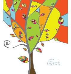 Autumn tree greeting card with leaves vector image
