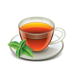 Black tea cup isolated vector