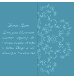 Blue card design with ornate flower pattern vector image vector image