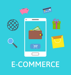 E-commerce concept online wallet smartphone with vector