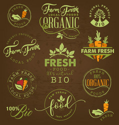 Farm freshorganic and bio food labels and badges vector