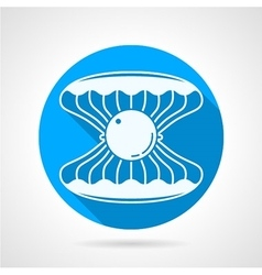 Flat round icon for pearl seashell vector