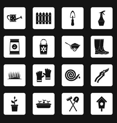 gardening icons set squares vector image