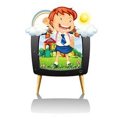 Girl in school uniform on tv screen vector