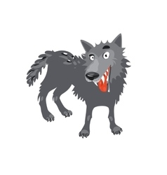 Gray wolf Cartoon toothy wolf grey vector image
