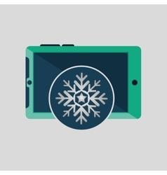 Green smartphone weather snow icon design vector